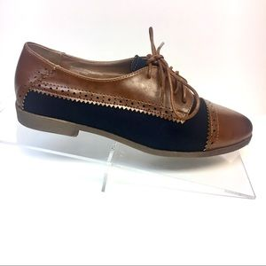 Navy and Brown Brogue Oxford Flats - Round Toe